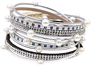Pulseras Ty-Black Fashion Wrap con perlas de imitación bohemio pulseras joyas plata 34 cm