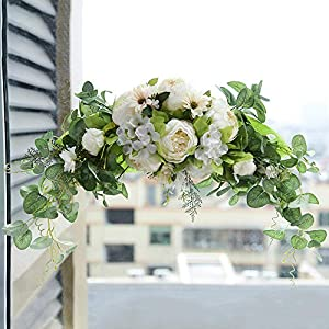 Ansuma Artificial Peony Flower Swag, 30 Inch Decorative Front Door Lintel Swag with Peonies and Eucalyptus Leaves for Wedding Arch Front Door Wall Window Home Garden Party Decor (White)