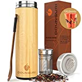 DOUNGURI Bamboo Tea Tumbler Mug with Strainer Infuser - 18oz Vacuum Insulated Stainless Steel Thermos with Filter for Loose Leaf