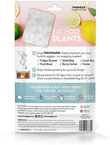 THE FRESHGLOW Co FRESHPAPER Food Saver Sheets for Produce, 8 Reusable Sheets (1 Pack), Keeps Fruits & Vegetables Fresh for 2-4x Longer- Made in the USA