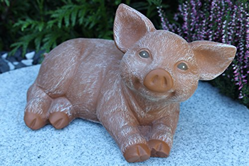 Steinfiguren Spicker Steinfigur Schwein, 175/3 Ferkel, Gartenfigur Steinguss Tierfigur Terrakotta Patina