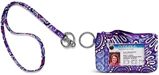 Vera Bradley Zip Id Case and Lanyard in Lilac Tapestry