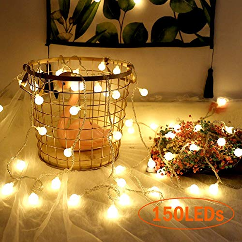 150 LED Globe Lichterkette,VIFLYKOO LED Lichterkette Warmweiß Außen/Innen 15M IP44 Wasserdicht mit Fernbedienung für Party, Garten, Weihnachten, Halloween, Hochzeit [Energieklasse A++]
