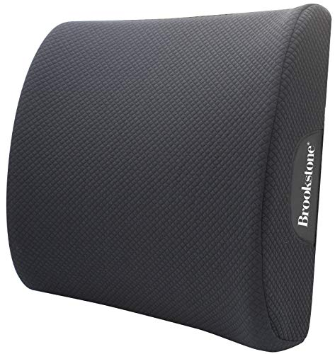Brookstone BK1209 - Luxurious Lumbar Support Pillow for Car or Office Chair, Back Cushion with Premium Grade Memory Foam, Breathable and Washable Cover, Adjustable Strap