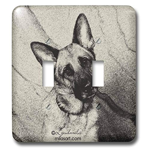 2 Gang Wall Plate Cover Decorator Wall Switch Light Plate Double Toggle Switch German Shepherd Classic Beadboard Unbreakable Faceplate