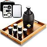 AMYZ Juego de Sake japonés con Bolsa de Almacenamiento Juego de Tazas de Sake 9 Piezas con Bandeja Tradicional Porcelana cerámica Tazas artesanales Copas de Vino,A,10 Piezas