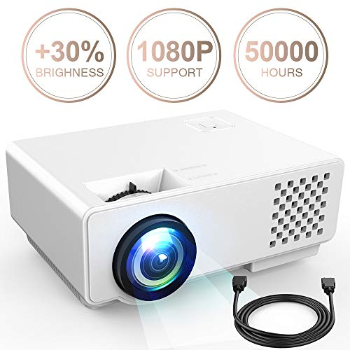"""Video Projector -DBPOWER RD810 Portable Mini Projector, 176"""" Display, 1080P Supported 50,000 Hrs Home Movie Projector , Compatible with HDMI VGA AV USB"""