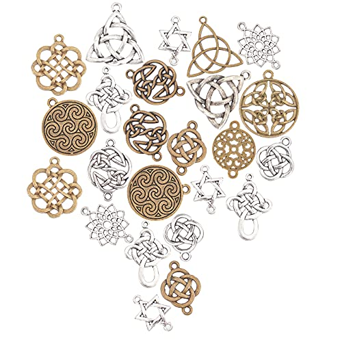 SUNNYCLUE 1 Box 56Pcs 14 Styles Celtic Knot Charms Pagan Chinese Knot Flower of Life Connectors Chakra Tibetan Style Alloy Hollow Pendants for Crafts Supplies, Antique Sliver Bronze