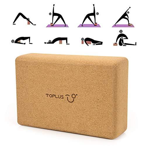 TOPLUS Yoga Block für Anfänger und Fortgeschrittene aus 100{5511d020b482b1cdfd073173759a8c6b138f86f19449602b2223be97fe09283d} Naturkork,Korkblock Yogablock Kork für Fitness Yoga & Pilates & Gymnastik,750g,23 * 15 * 7.6cm