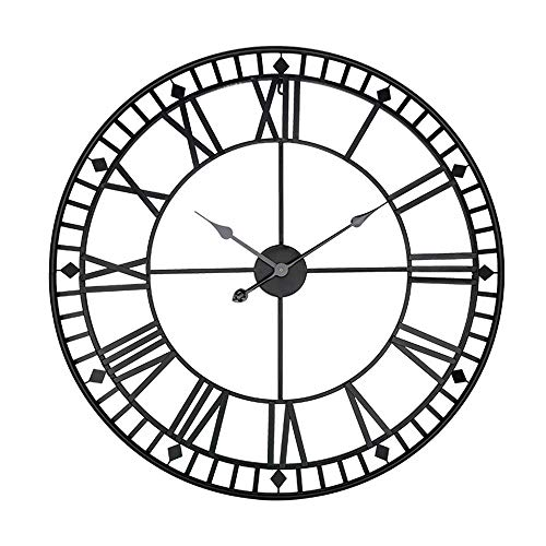 Reloj de Pared 80cm * 80cm * 4cm Hierro Negro Material Metal Nórdico Circular Grande del Reloj de Pared del Hierro Creativo Reloj Reloj casera Colgante Sala de Mesa