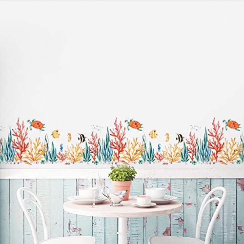 Zócalo plantas marinas peces pegatinas de pared para habitaciones de niños arte sala de estar dormitorio guardería decoración del hogar Mural calcomanía pegatina