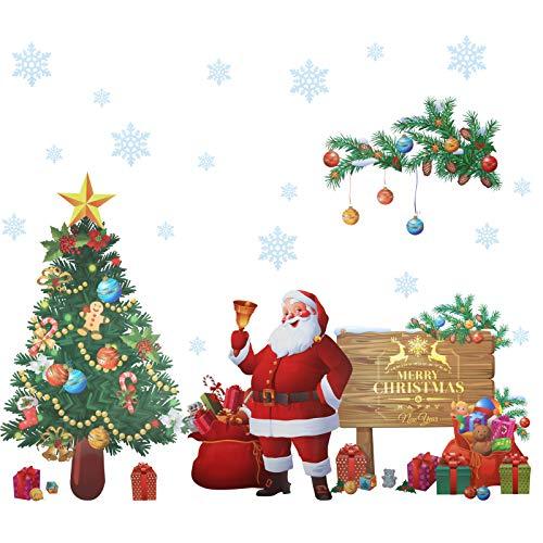 Kesote Adesivi da Parete di Natale Adesivi di Babbo Natale, Albero di Natale Decorazione di Natale per Casa, Cameretta di Bambini, Adesivi da Parete di Fai-da-te, circa 45 x 60 cm