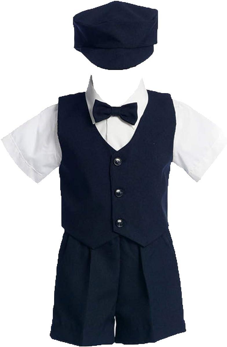 Lito Baby Boys Navy Vest Short Hat Easter Ring Bearer Suit 24M