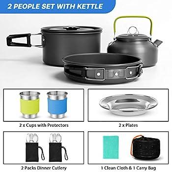 Odoland Kit de Camping avec réchaud Pliable pour 2 Personnes, Casserole, poêle, Bouilloire avec Tasses, Assiettes, fourchettes, Couteaux, cuillères pour Cuisine en Plein air et Pique-Nique