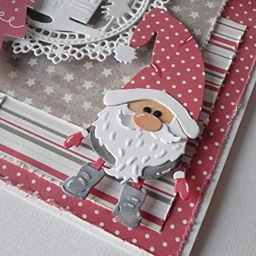 Lai-LYQ Stanzmaschine Stanzschablone, Weihnachtsmann Scrapbooking Prägeschablonen Handwerk Papier Deko Festival Karten Geschenk Silver