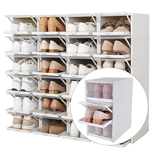 Baffect Organizzatore di scatole di immagazzinaggio Scarpa impilabile, Confezione da 3 scatole di plastica Trasparente Scatola di Scarpe Rimovibili Scatole di Scarpe Estraibili (Grigio)