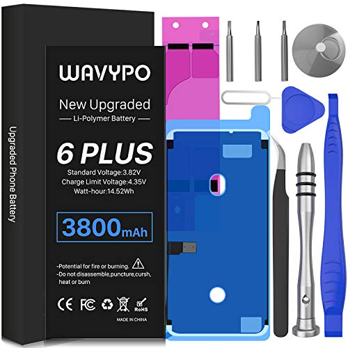 Battery for iPhone 6 Plus, 3800mAh Upgrade Wavypo High Capacity New 0 Cycle Battery Replacement for iPhone 6P A1522 A1524 A1593 with Full Repair Tools and Adhesive Strips Kit