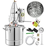 VEVOR Water Alcohol Distiller 304 Stainless Steel Moonshine Still Wine Making Boiler Home Kit with Thermometer for Whiskey Brandy Essential (20L)
