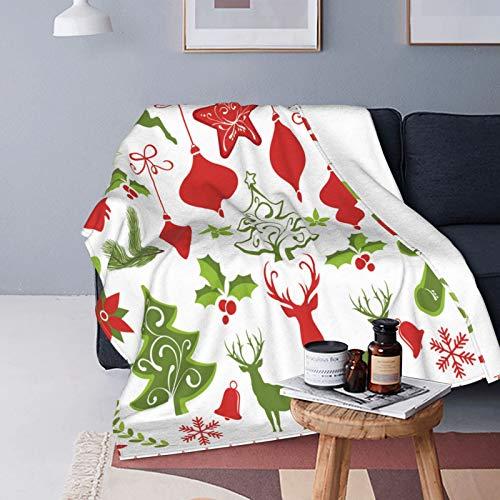 CVSANALA Plush Throw Blanket for All Seasons Soft Lightweight Warm,Santa Strange Sleigh Snow Scene,Comfortable Bed Blanket Travel Bed Couch Quilt,40' X 50'