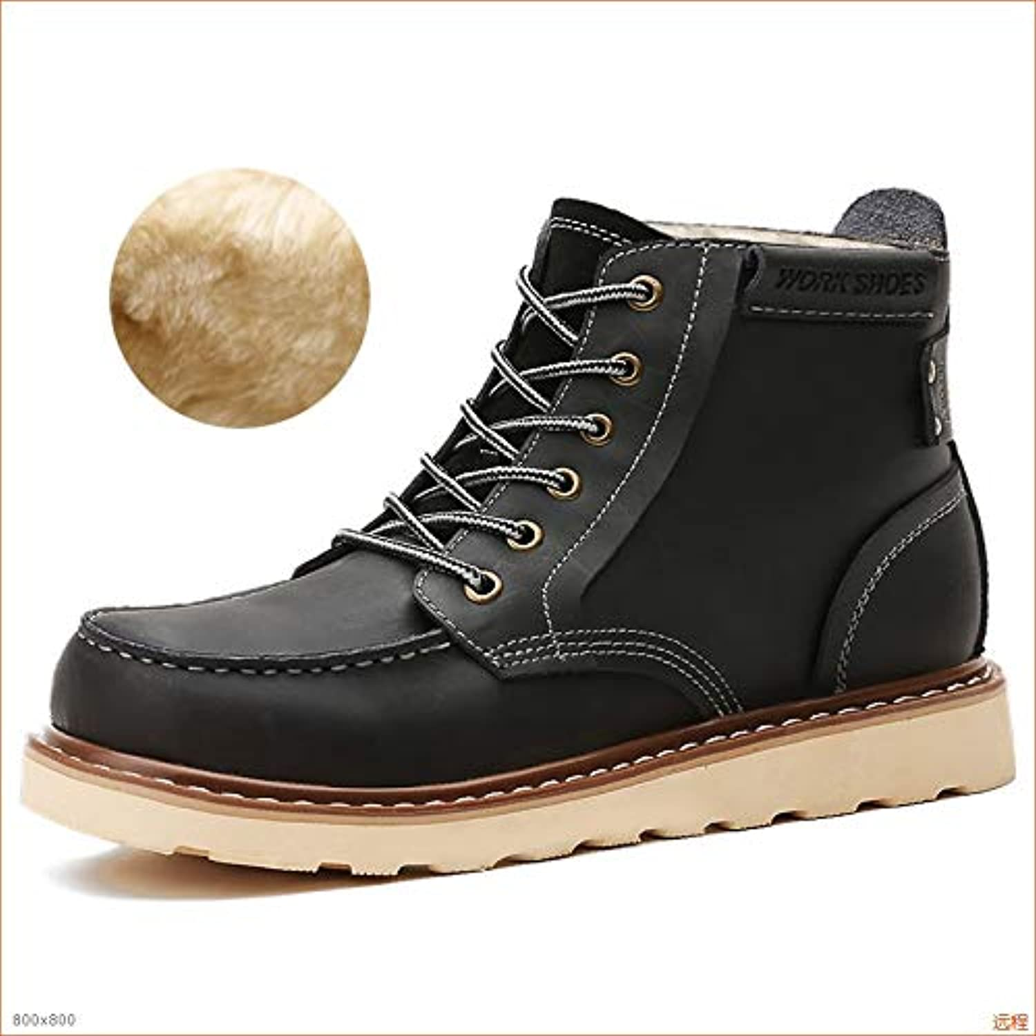 Hucusd Wear-Resistant Men's Fashion and Sturdy Work Boots Casual Thickening and Anti-Collision Toe high Boots Comfortable