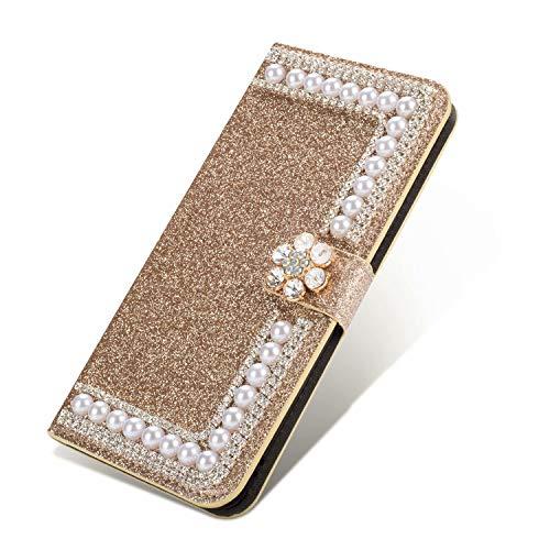 Nadoli Leder Hülle für Huawei P30 Pro,Bling Glitzer Diamant 3D Handyhülle im Brieftasche-Stil Blume Perle Flip Schutzhülle Etui für Huawei P30 Pro,Gold