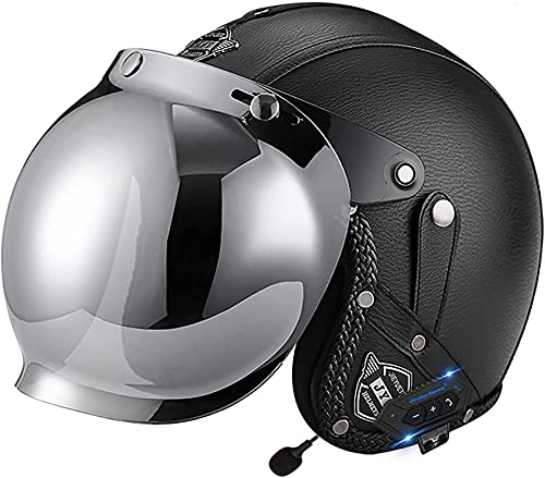 Casco de motocicleta de la cara abierta Bluetooth Half Half Casco Mascarilla Plegable Mascarilla de seguridad Casco Jet, para crucero Chopper Carrera de ciclomotor de ciclomotor de motocicleta Dot / C