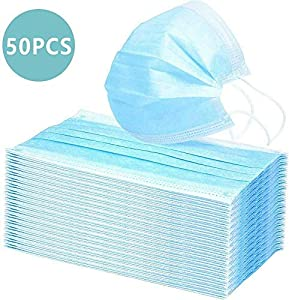 50 Disposable Surgical Masks Masks 3-Layer Masks dustproof Protective Masks Breathing Masks with Earrings to Prevent dust from Entering (MASK,50PCS)