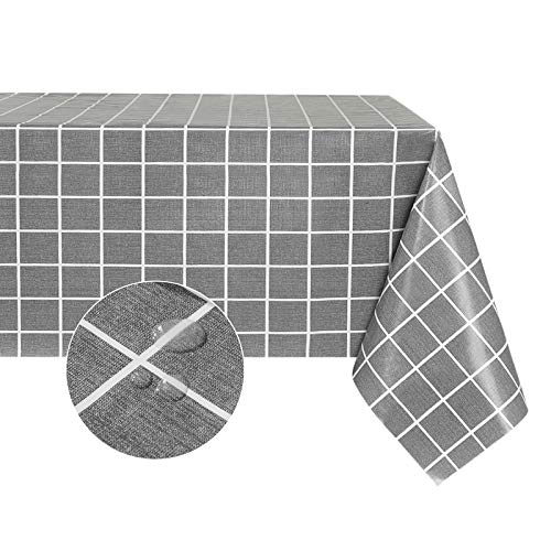 Checkered Vinyl Rectangle Tablecloth – 100% Waterproof Oil Proof PVC Table Cloth, Heavy Duty Wipeable Table Covers for Dining, Camping, Indoor and Outdoor Use (54x78 inch, Grey)