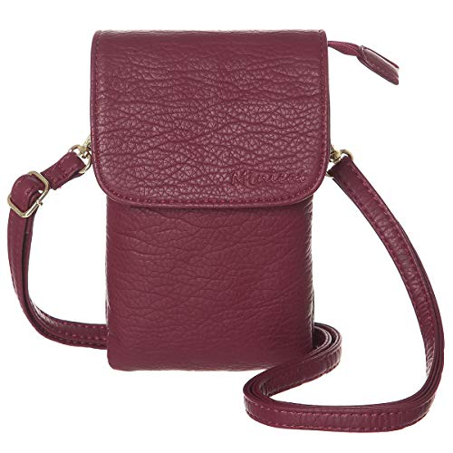 MINICAT Roomy Pockets Series Small Crossbody Bags Cell Phone Purse Wallet for Women(Dark Red)