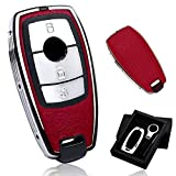 Car Key Cover,Zinc Alloy Leather Key Case Cover Fob with Keychain,for Mercedes Benz A, B, C, E, S, R, V, GL and ML Class, GLA, GLC, GLE, GLK, GLS, AMG,for Remote Control Smart Car Keys (Red)