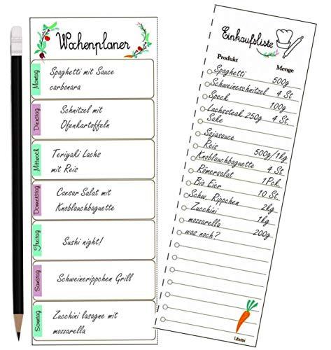 Libetui Wochenplaner mit Shoppingliste Essenplaner mit Einkaufsliste to do Liste, Magnetischer Menüplaner, Notizblock mit 60 Blatt magnetisch Kühlschrankblock Einzugsgeschenk DIN A5 Motiv Bunt