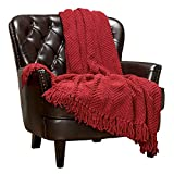 Chanasya Textured Knitted Super Soft Throw Blanket with Tassels - Warm Fluffy Cozy Plush Knit - for Fall Winter Couch Bed Sofa Living Room Framhouse Boho Accent Decor (50x65 Inches) Red Blanket