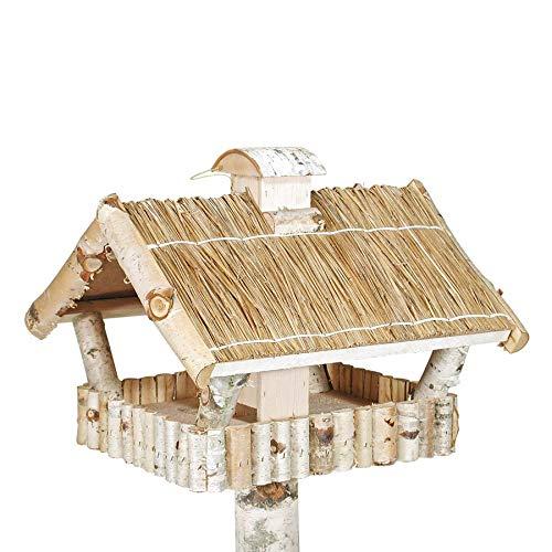 Vogelhaus und Futtersilo und Standfuß aus Birke mit Strohdach quadratisch - 2