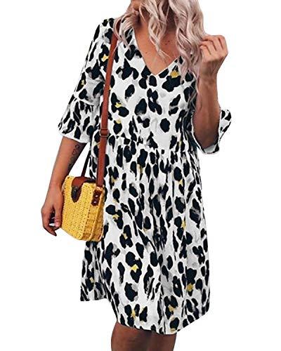 Auxo Damen V Ausschnitt Leopard Kleid 1/2 Arm Rüschenärmel Oversize Sommer Mini Kleider B-002 Weiß Small