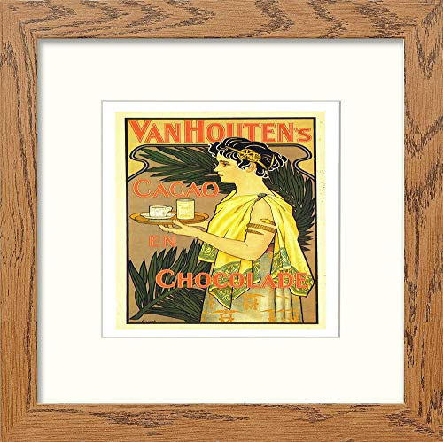 L Lumartos Póster Vintage Van Houten's Chocolate Contemporáneo Home Decor Wall Art Print, Madera Oscura, 12 x 12 Inches