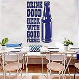 Calcomanía De Pared De Barril De Cerveza, Buena Cerveza Con Buenos Amigos, Citas, Botella, Barra, Cocina, Decoración Interior, Refrigerador, Pegatinas De Vinilo 110X179Cm