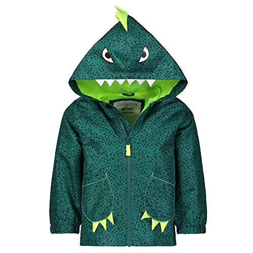Carter's Boys' Critter Rainslicker Lightweight Rain Jacket, Green Dino, 5/6