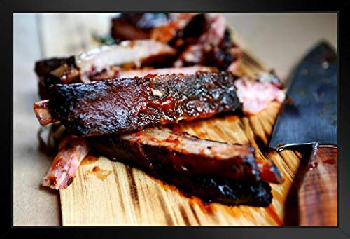 Barbecue Ribs on a Cutting Board Photo Photograph Art Print Stand or Hang Wood Frame Display Poster Print 13x9