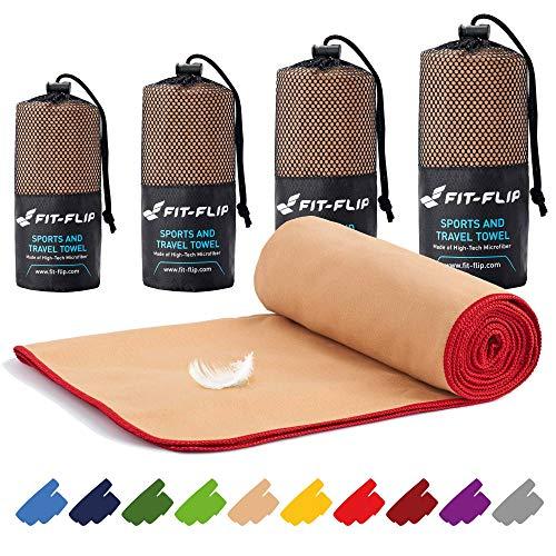 Fit-Flip Mikrofaser Handtuch Set – 16 Farben, viele Größen – Ultra leicht & kompakt – das perfekte Sporthandtuch, Strandhandtuch und Reisehandtuch (80x160cm, Sand -...