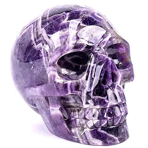 Natural Hand Carved Crystal Skulls Dream Amethyst Hollow Skulls Natural Crystal Crafts for Healing Home Decor Gifts (2.2 lb)