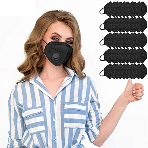 Jiujiuwanli 10-50 Stück Mundschutz Erwachsene mit Nasenbügel Ventil schwarz Mehrweg Faltbar MNS Atmungsaktive Staubdicht Bandana für Damen Herren