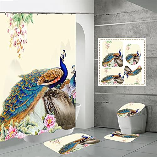 SUUZQK Impresión Digital De Alta Resolución Patrón De Pavo Real Impermeable Poliéster Hogar Baño Inodoro Cortina De Ducha Conjunto De Cuatro Piezas 120x180cm(WxH) D