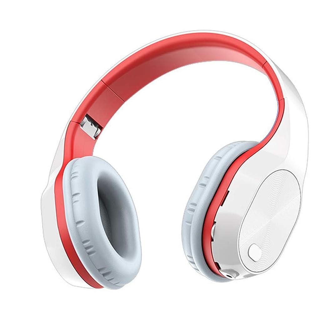 風景バングマイクロフォンステレオワイヤレスBluetoothヘッドセットインイヤーゲーミングヘッドセット格納式折りたたみ式スポーツヘッドセットアクティブノイズリダクション,White red