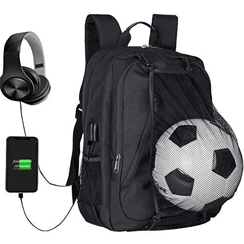 Daypacks Herren Boy Fußballrucksack - Sport Rucksack Mit Faltbar Basketball Net Und USB Lade-Schnittstelle -für 15.6 Zoll Laptop Schulrucksack