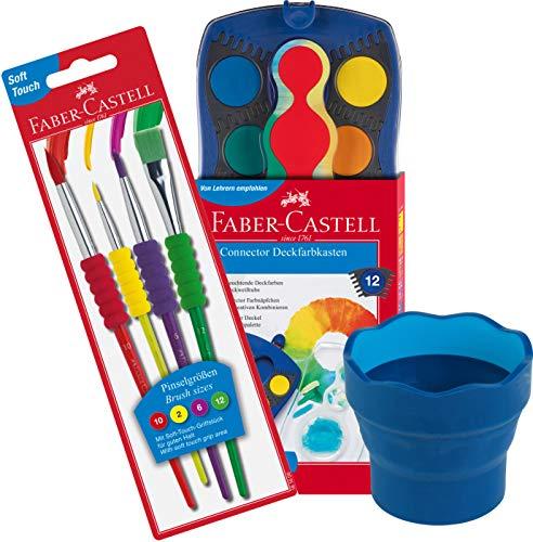 Faber-Castell - Farbkasten CONNECTOR mit 12 Farben, inklusive Deckweiß, 1 Stück (Mal-Set) inkl. Pinsel und Wasserbecher blau