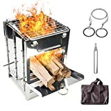 Lixada Camping Wood Stove Folding Stainless Steel Stove Grill Portable Backpacking Stove Alcohol Burn Stove with BBQ Grill Storage Bag (Type3.)