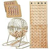 Complete Deluxe Bingo Game Set with Bingo Cage, Master Board, Bingo Balls, Bingo Cards (Gold Cage with Accessory)