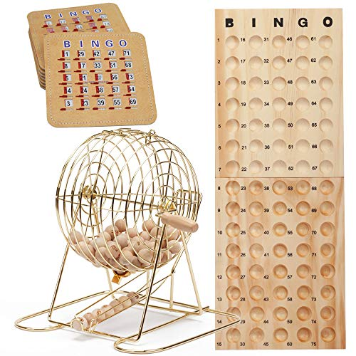 Complete Deluxe Bingo Game Set with Bingo Cage, Master Board, Bingo Balls, Bingo Cards (Gold)