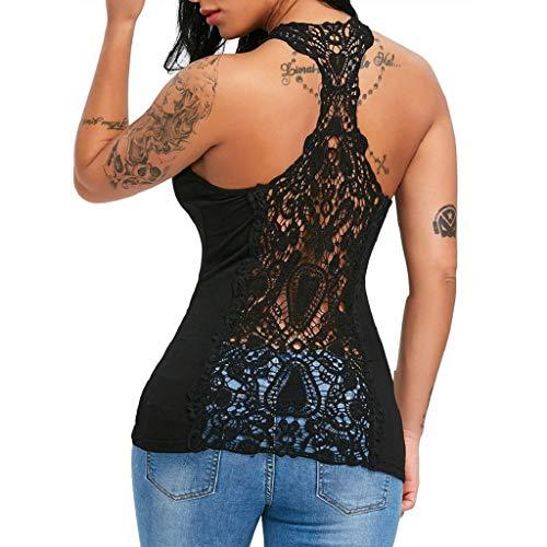 Camisetas sin Mangas Mujer,SHOBDW Moda De Verano Sexy Cuello Redondo Sujetador De Encaje Sólido Sin Espalda Ahueca hacia Fuera La Camiseta Blusa Deporte Chaleco Tops para Mujeres(Negro,L)