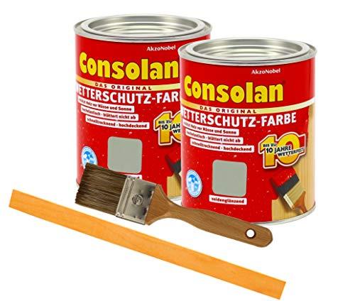 Consolan Wetterschutzfarbe deckend / 2x 0,75L grau 202 / Holzschutzfarbe Holzfarbe bis zu 10 Jahre wetterbeständig für Holz und Zink Außen inkl. Pinsel & Rührstab